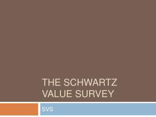 The Schwartz value survey