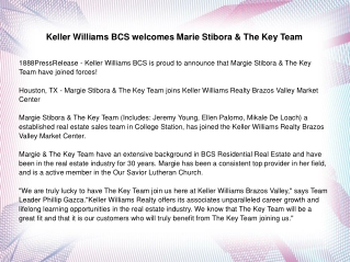 Keller Williams BCS welcomes Marie Stibora
