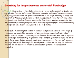 Searching for images becomes easier with Purebudget
