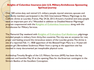 Knights of Columbus Insurance Join U.S. Military Archdiocese
