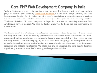Core PHP Web Development Company In India