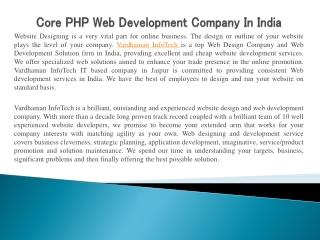 Core PHP Web Development Company In India