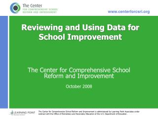 Reviewing and Using Data for School Improvement