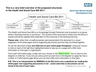 This is a very brief overview of the proposed structures  in the Health and Social Care Bill 2011: