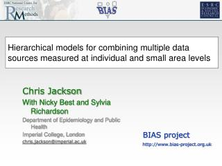 Hierarchical models for combining multiple data sources measured at individual and small area levels