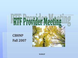 CBHNP Fall 2007