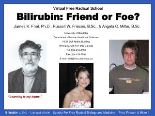 Bilirubin: Friend or Foe