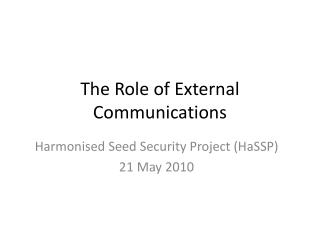 The Role of External Communications