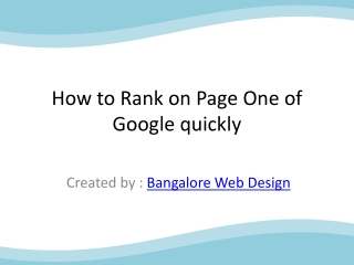How to Rank on Page One of Google quickly