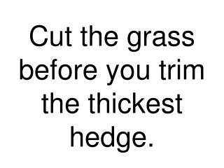 Cut the grass before you trim the thickest hedge.