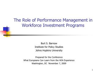 The Role of Performance Management in Workforce Investment Programs