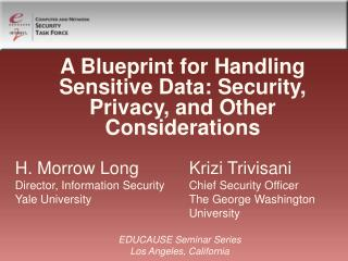 A Blueprint for Handling Sensitive Data: Security, Privacy, and Other Considerations