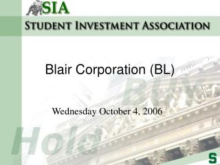 Blair Corporation BL