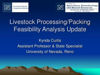 Livestock Processing/Packing Feasibility Analysis Update