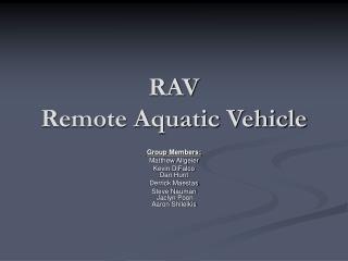 RAV Remote Aquatic Vehicle