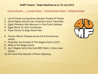 22  July 13 -Current Events | Current News | Entertainment N
