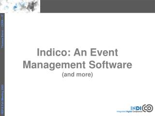 Indico: An Event Management Software (and more)