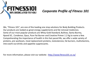 Corporate Profile of Fitness 101