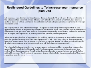 Really good Guidelines to To increase your Insurance plan Us
