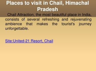 Places to visit in Chail - Himachal Pradesh