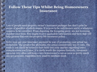 Follow These Tips Whilst Being Homeowners Insurance