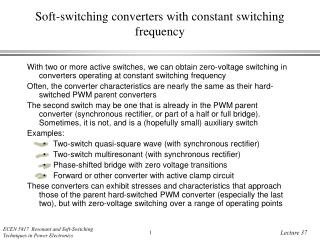 Soft-switching converters with constant switching frequency