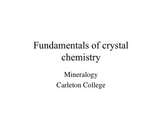 Fundamentals of crystal chemistry