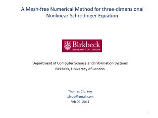 A Mesh-free Numerical Method for three-dimensional Nonlinear Schr dinger Equation