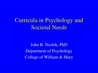 Curricula in Psychology and Societal Needs