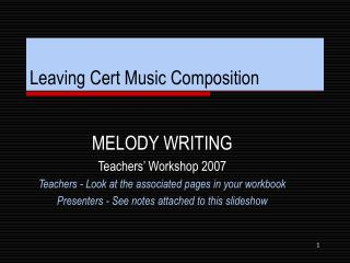 Leaving Cert Music Composition