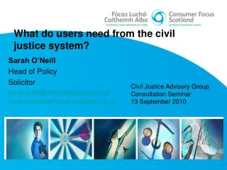 What do users need from the civil justice system