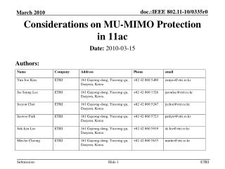 Considerations on MU-MIMO Protection in 11ac