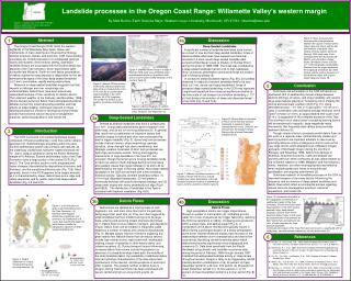 Landslide processes in the Oregon Coast Range: Willamette Valley s western margin