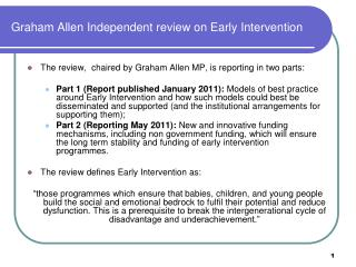 Graham Allen Independent review on Early Intervention