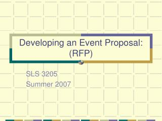 Developing an Event Proposal: RFP