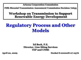 Regulatory Process and Other Models