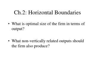 Ch.2: Horizontal Boundaries