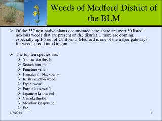 Weeds of Medford District of the BLM