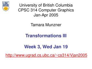 Transformations III  Week 3, Wed Jan 19