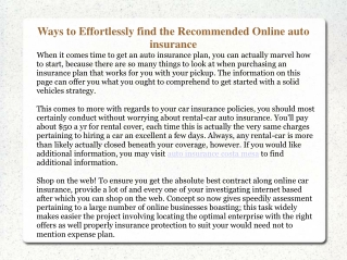 Ways to Effortlessly find the Recommended Online auto insura