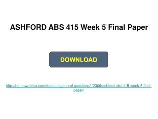 ABS 415 Week 5
