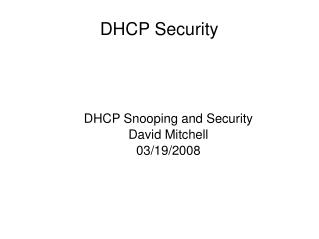 DHCP Security
