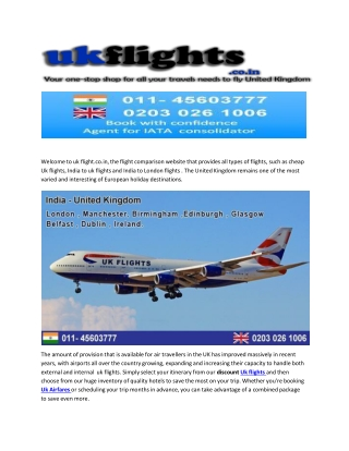 Flights To London From Mumbai and Delhi