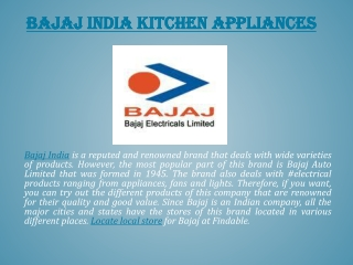 Bajaj Electricals India Stores near you to shop Appliances