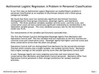 Multinomial Logistic Regression: A Problem in Personnel Classification
