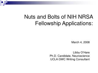 Nuts and Bolts of NIH NRSA Fellowship Applications: