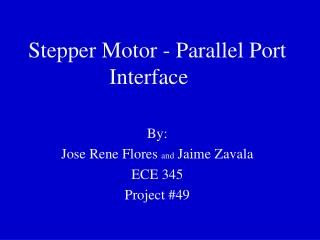 Stepper Motor - Parallel Port Interface