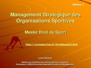 Management Strat gique des Organisations Sportives   Master Droit du Sport