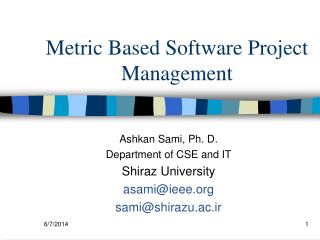 Metric Based Software Project Management