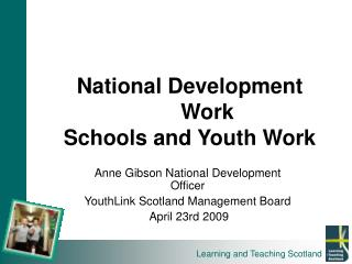 National Development  Work Schools and Youth Work
